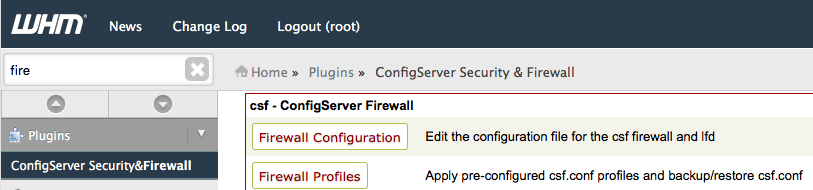 Open the Firewall Configuration in WHM