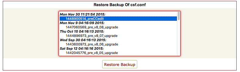 Select CSF config backup to restore