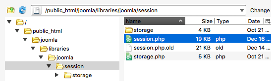 FTP upload of new session.php file