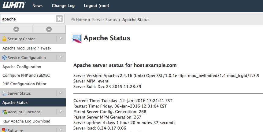 ApacheStatusPageInWHM