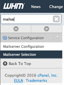 Mailserver Selection in WHM