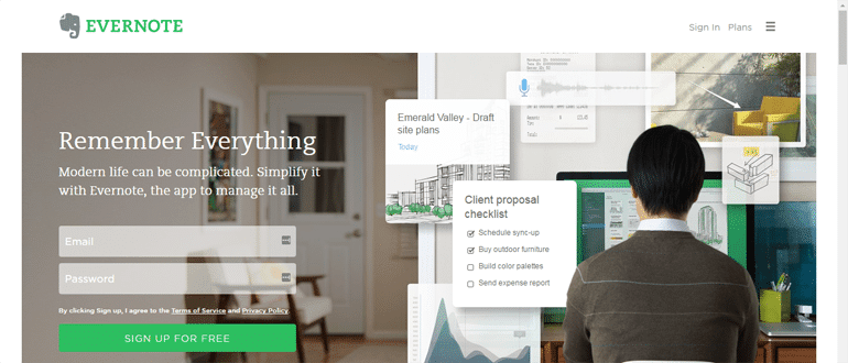 Evernote is a note taking app and project management software.