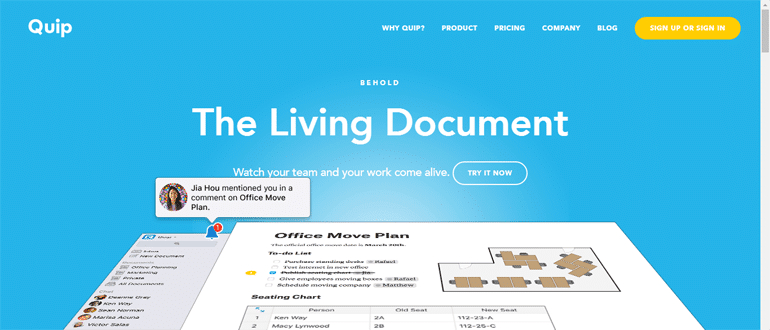 Quip, a living document for project management.