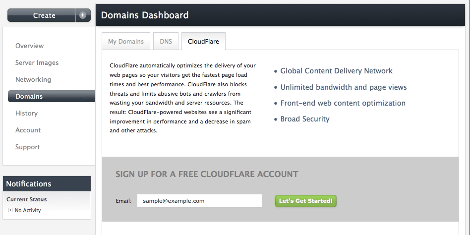 CloudFlare panel in Manage->Domains