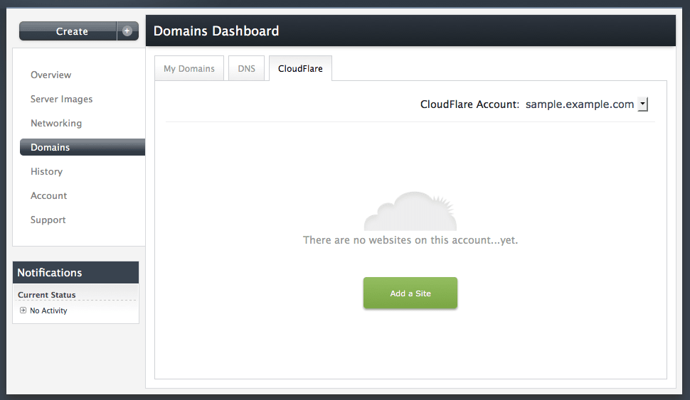 Add a site to CloudFlare