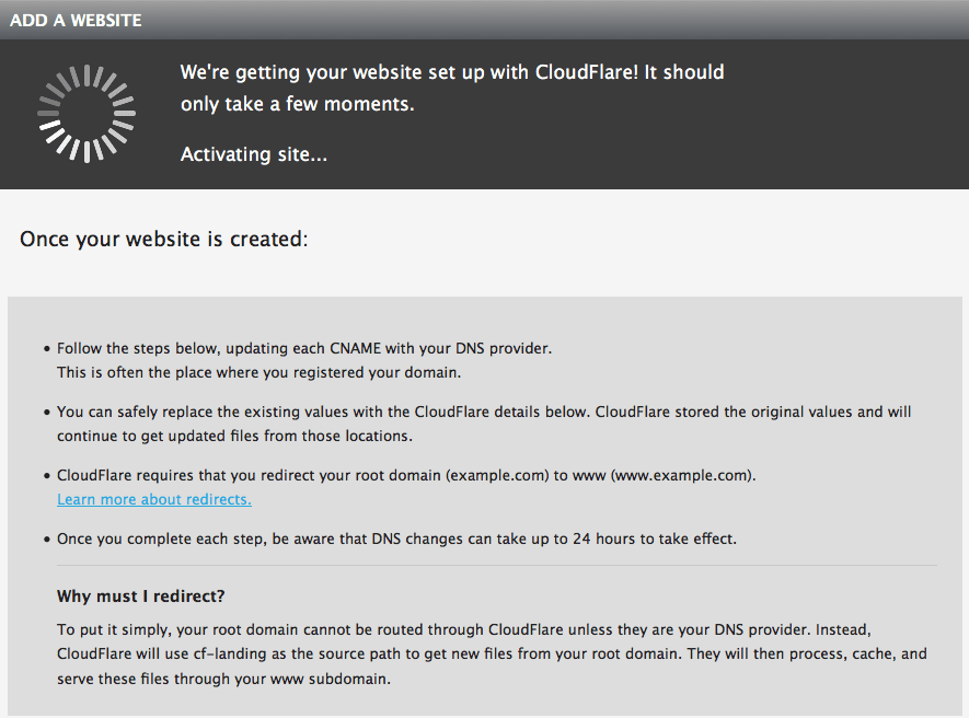 Site is being added to CloudFlare