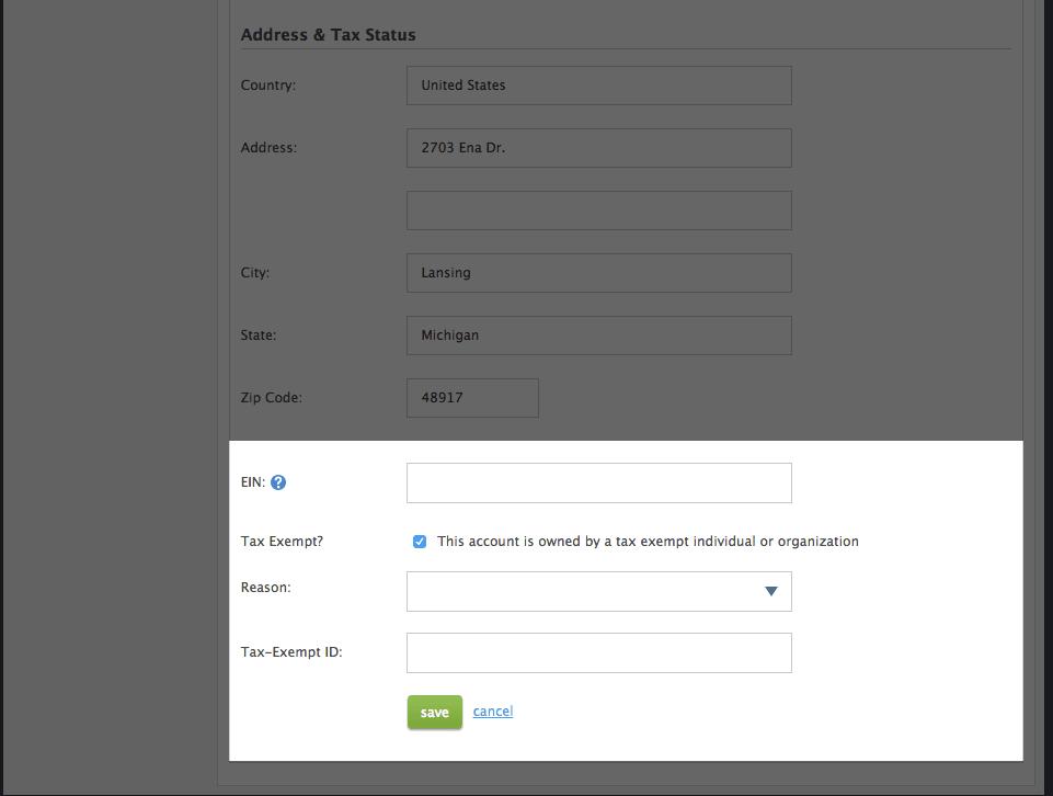 EIN/TIN and exempt status