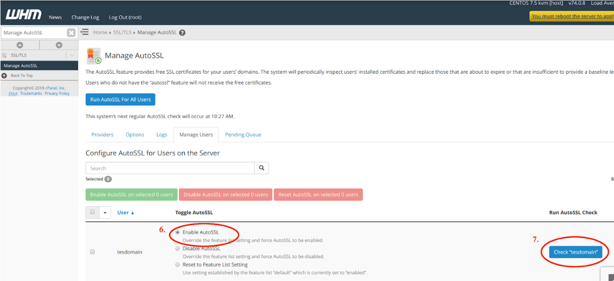 Enable the AutoSSL option in WHM for your server to automatically update SSLs.
