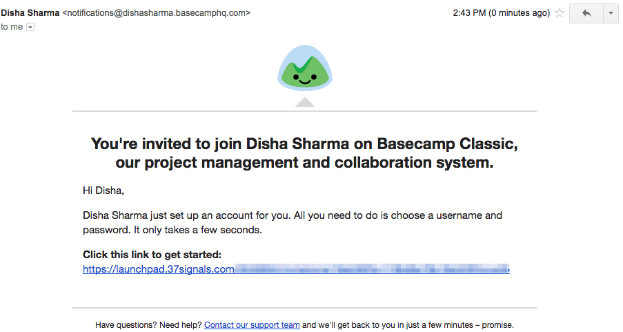New Client Onboarding - Basecamp Invite Email