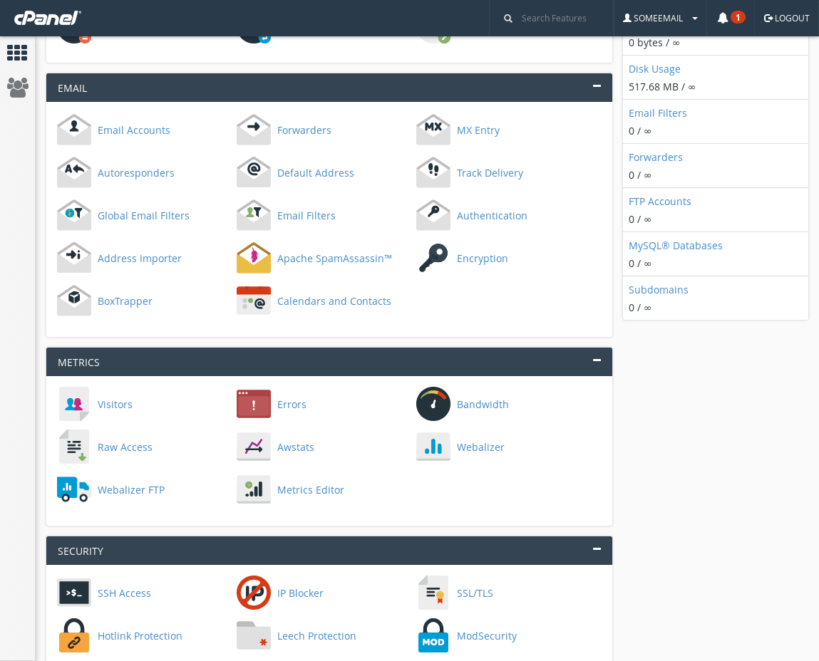 Email Export Main cPanel