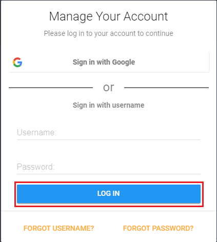 login screen with login button highlighted