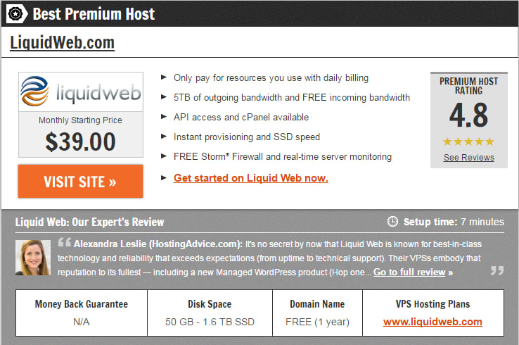 Liquid Web Selected by HostingAdvice.com as Best Premium Host