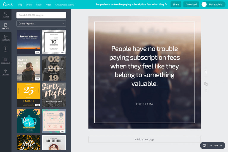 Canva provides tons of templates, layouts and tools to make every different kind of image that you like.