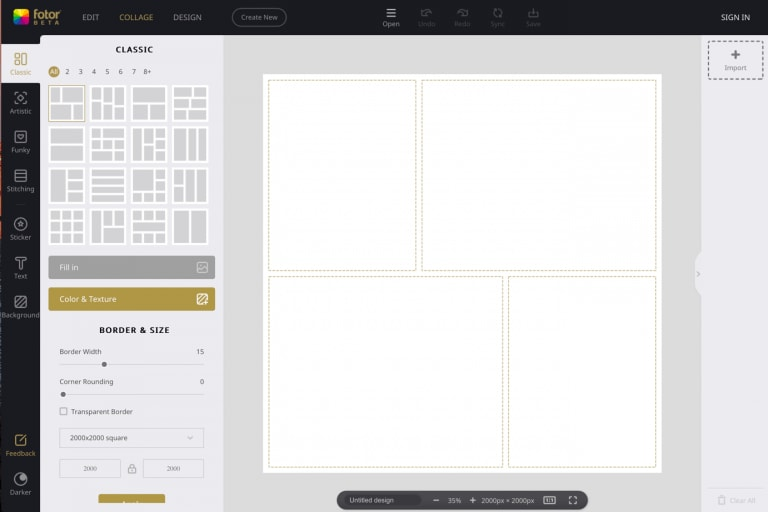 Fotor provides ready-made templates for creating and sizing images for social media sharing.