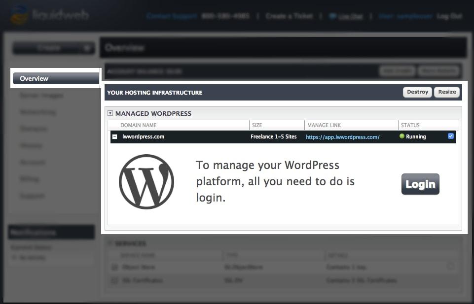 Managed WordPress login screen