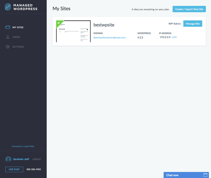 Managed WordPress dashboard