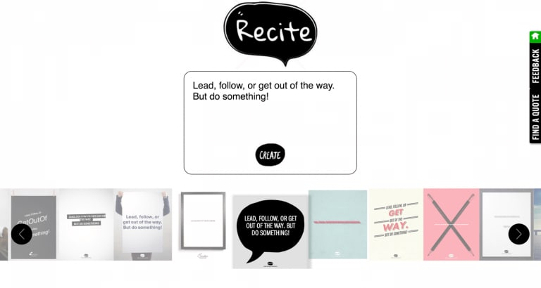 Recite allows you to create inspirational quotes using templates.