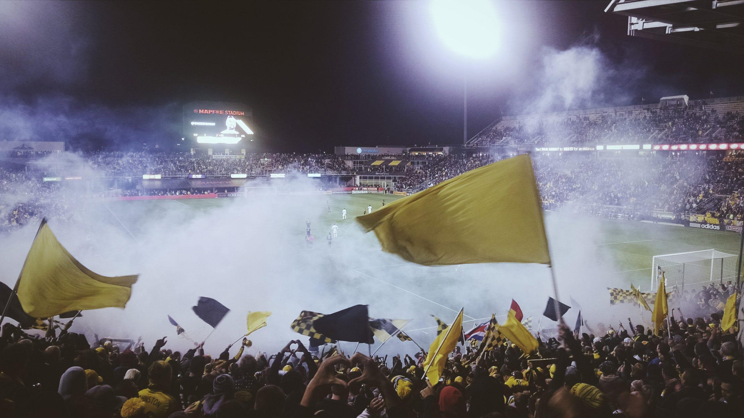 Soccer fans at game