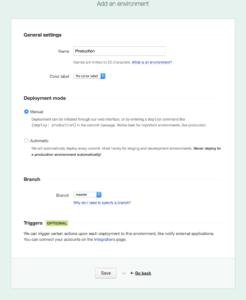 DeployBot General settings page