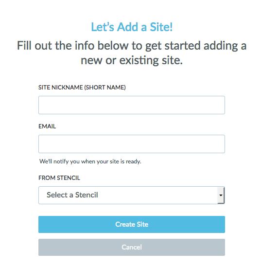 Create/Import New Site