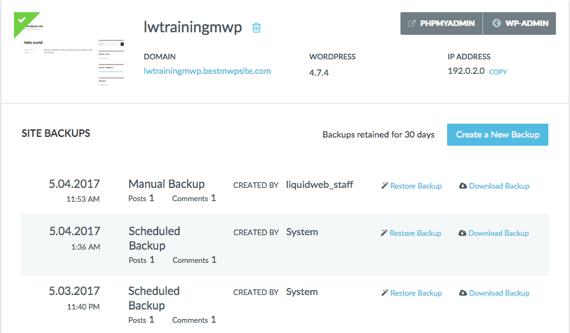 chronological list of backups