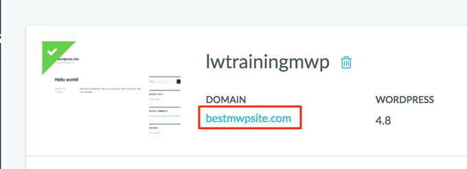 site link under Domain