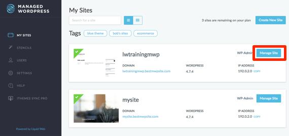 Manage Site button