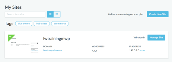 Managed WordPress Dashboard site home page