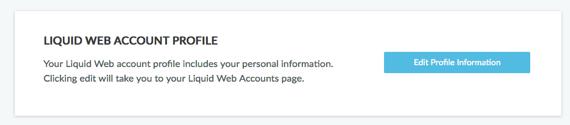 Liquid Web Account Profile link