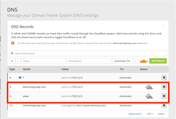Cloudflare DNS Disabled