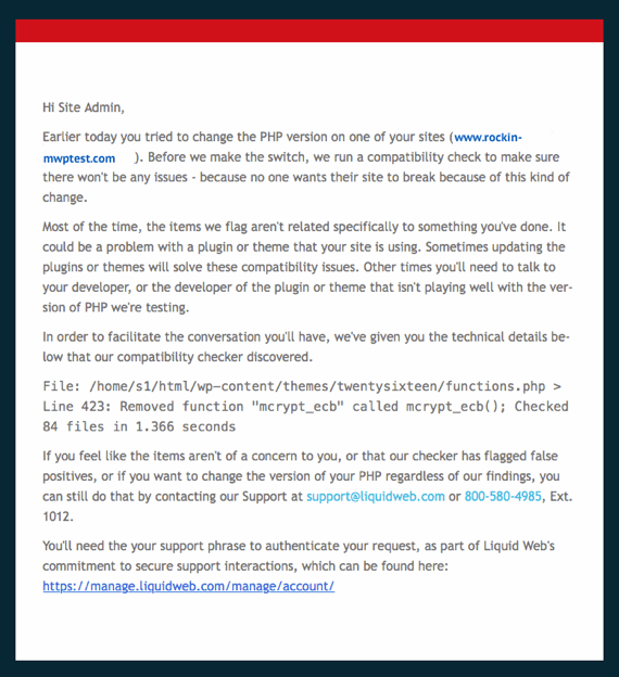 Email notice about failed update