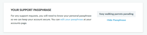 Your Support Passphrase section