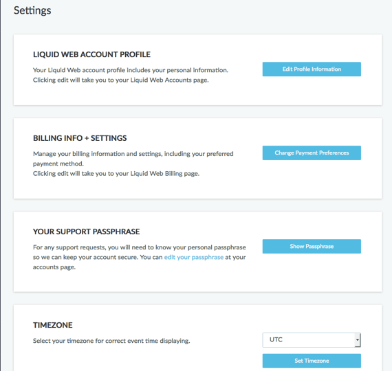 settings home page