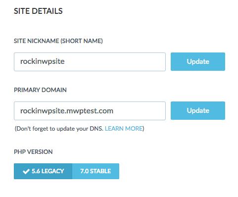 Site Details section