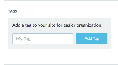 Tags section