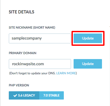 Click Update to change the name