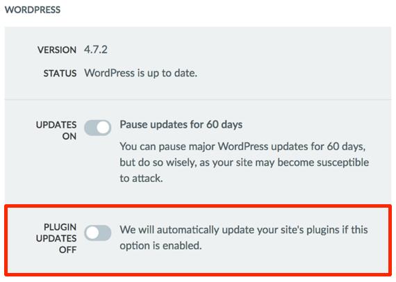 Plugin Updates Off