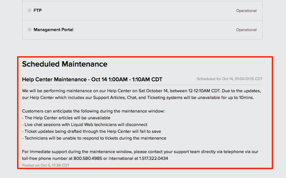 Additional maintenance and update notifications