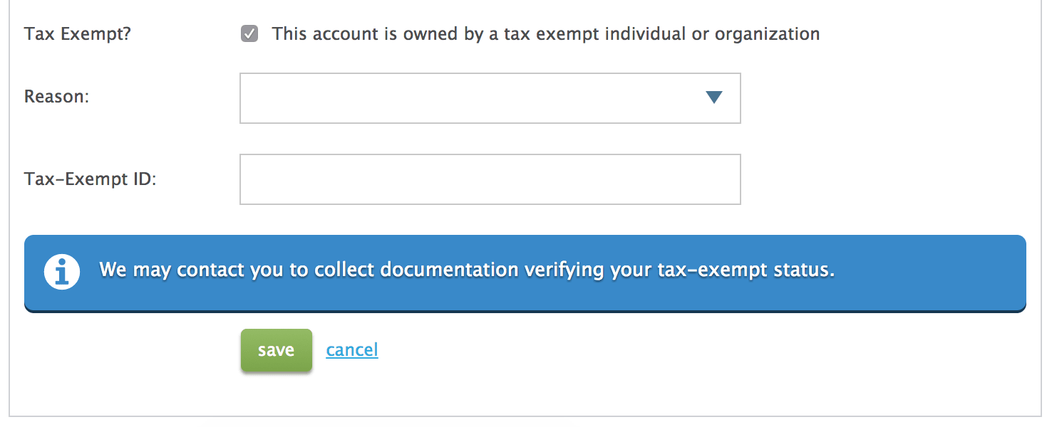 Reason for tax exemption