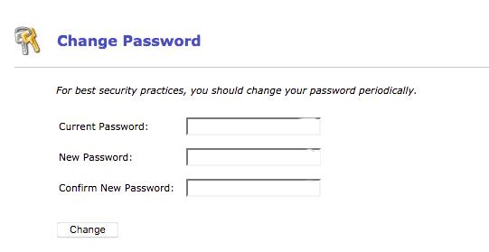 blank change password popup