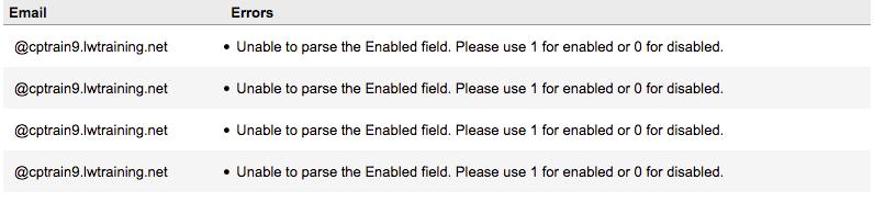 error for blank fields in csv