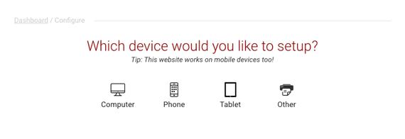 devices setup home page