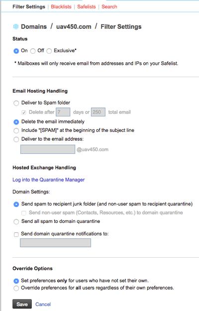 domain spam settings