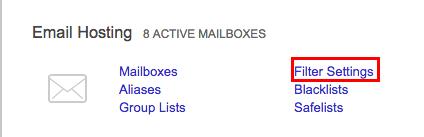 email hosting filter settings link