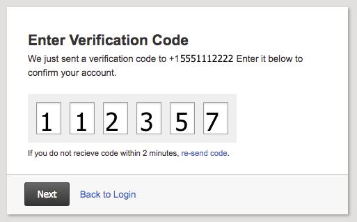 enter sms code
