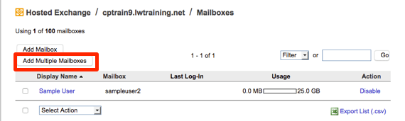 add multiple mailboxes button highlighted