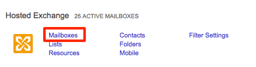 mailboxes link highlighted