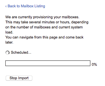 Mailboxes provisioning