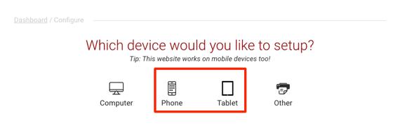 mobile setup links highlighted