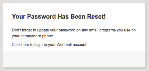 password reset success popup